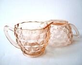 Vintage Pink Cubist Glass Cream & Sugar Bowl Set