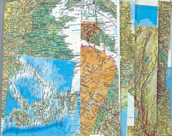 10 Vintage Map Scraps from Atlas Pages - Altered Art and Collages
