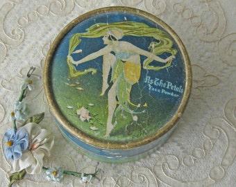 Vintage Lazell Face Powder Box -  AS THE PETALS -  Art Deco - White Powder