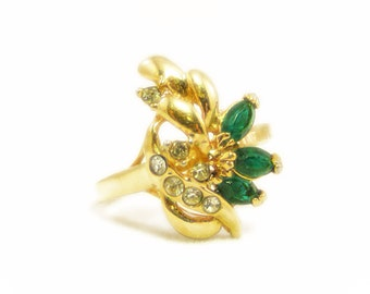 Sparkling 14k Gold Plated Deep Green and Clear Rhinestone Ring - Size 9