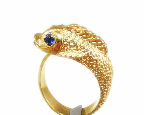 Unique 14kt gold plated lucky koi fish ring by for Koi fish ring