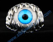 Steampunk large devil eye ring blue eye with monster teeth ring ---925silver ring