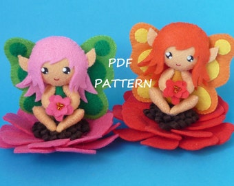 PDF sewing pattern to make a small flower fairy in felt
