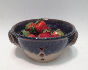 Blue / Berry Bowl , Pottery Bowl / Colander / Ceramic Bowl , Pottery Bowl , Ceramic Bowl , Colinder , Handmade Bowl , Fruit Bowl , Gift