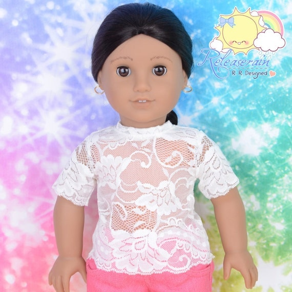 "Releaserain Doll Clothes White Lace Short Sleeves Tee Shirt for 18"" American Girl dolls"
