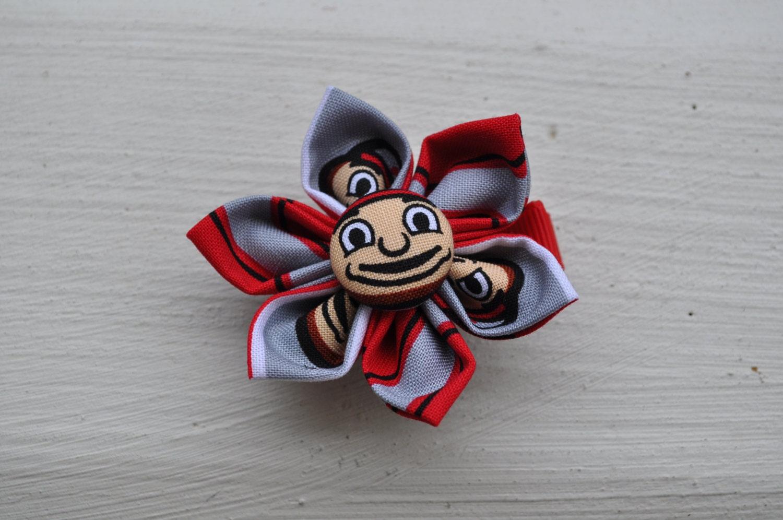 The Ohio State Buckeye Kanzashi Fabric Flower Clip by RedHeadBows