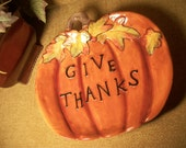 Colorful Ceramic Give Thanks Pumpkin Tray, Harvest Tableware, Fall Dish, Thanksgiving Home Decor - SpringJewelryThings