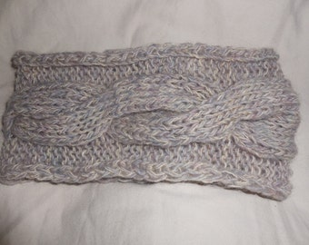 Gray Wool Headband, Winter Ear Warmer, Chunky Cable Knit Bandana.