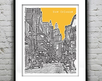New Orleans Poster Art Skyline French Quarter Bourbon Street Louisiana Print Version 7