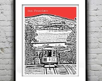 San Francisco Poster Print Skyline Cable cars California Art CA Version 6