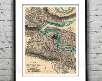 Chattanooga Tennessee Poster Art Print Old Vintage Map