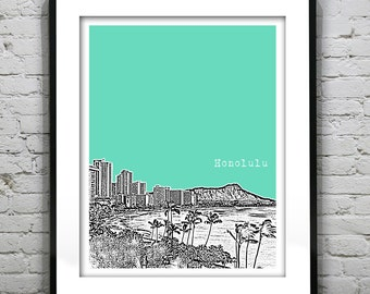 Honolulu Hawaii City Skyline Poster Art Print HI Version 3