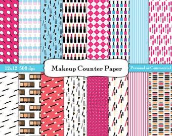 Makeup Counter Digital Scrapbook Paper Instant Download