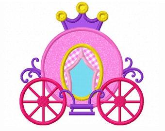 princess Carriage Applique Machine Embroidery Design NO:0090