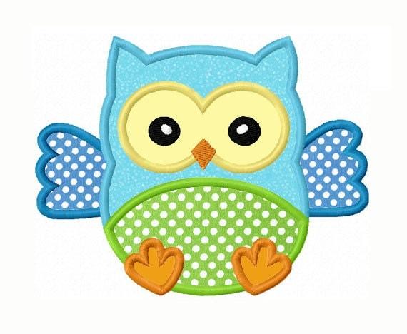 Baby owl applique machine embroidery design no