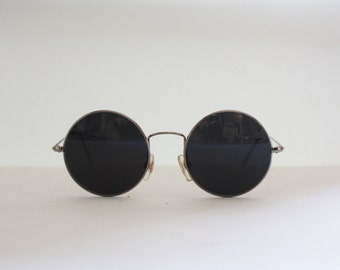 Vintage Sunglasses Round Metal Planet 2000 Hippie Teashades, Made in Italy