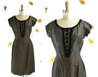SALE 1950s Brown Silk Taffeta and Velvet Dress with Gold Stripes / Hello Darling Dress