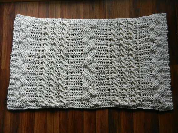 Knitting Texture Mat : Cable knit crochet rug area rugdoily floor mat by