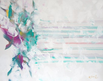 Contemporary Abstract Painting Original Drip Glamour Art Gold Pink White Turquoise 16x20 Canvas
