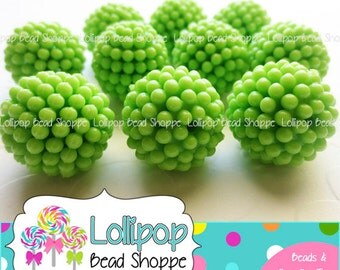 Berry Beads 20mm Beads LIME GREEN Raspberry Beads Vintage Style Beads 10 Chunky Beads Bubblegum Beads Acrylic Beads Opaque Bubble Gum Beads