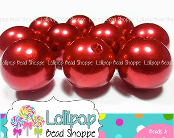 BULK 20mm RED PEARLS Chunky Necklace Beads Round Faux Pearl Beads Acrylic Imitation Pearl Bubblegum Beads Bubble Gum Beads Wholesale