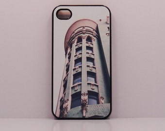 case iphone 6 Iphone 5 iphone 4  French pink and green building  mobile cell phone cover snap case art