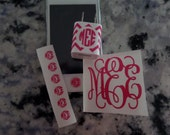 """Personalized Monogram iPhone set - Home button, 2"""" monogram, and iPhone charger wrap"""