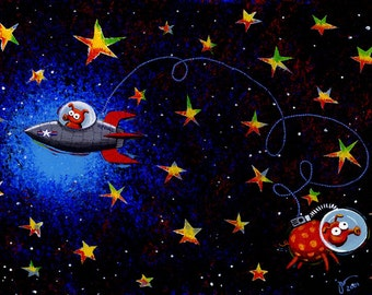 Pigs in Space by John Donato, Pig art Print, Astronaut Pigs in Rocket Ships, Gift idea, Holidat gift, Whimsical, Fun Print