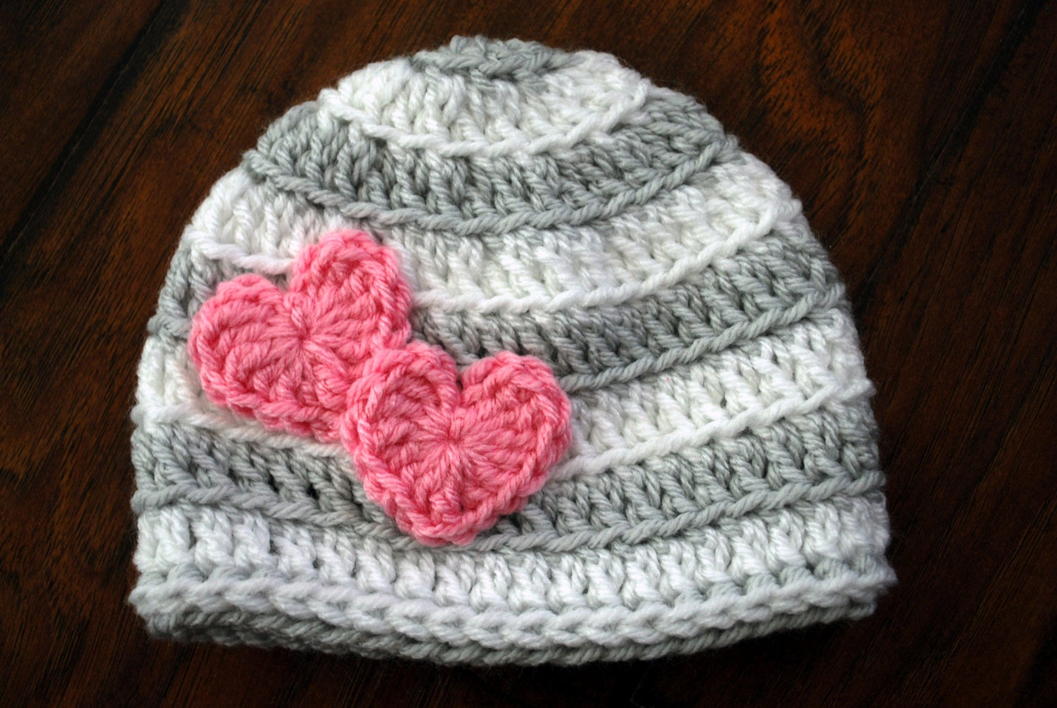 Crochet Valentine Hat : Valentine Striped Crochet Hat with Hearts by LoopySlipknot on Etsy