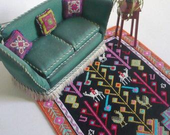 Instant PDF download dollhouse miniature needlepoint carpet  pattern T27