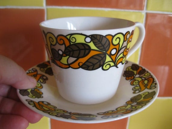 Vintage 1970s Retro Bone China Cup And Saucer Ridgway Indian