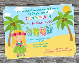 DIY - Hula Luau Flip Flop Girl Birthday Party Invitation - Coordinating Items Available
