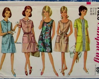 Vintage 1960s Women's One-Piece Dress Size 40 Sewing Pattern Simplicity 7025 Price Reduced 25%