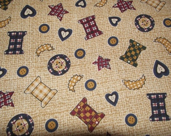 Cute Cotton fabric in country print... 1 1/4 yard