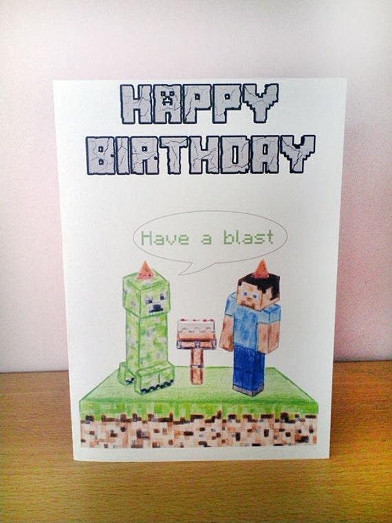 birthday card minecraft hand drawn brother, Birthday card