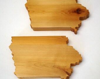 Wood Iowa Coasters (set of 4)