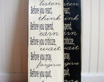 Before You...... Hand Painted Typography Sign