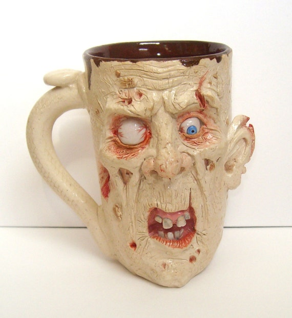 Undead Fred Zombie Mug One of a kind, Artist Signed, JD Cotton 16 oz Making Faces Pottery