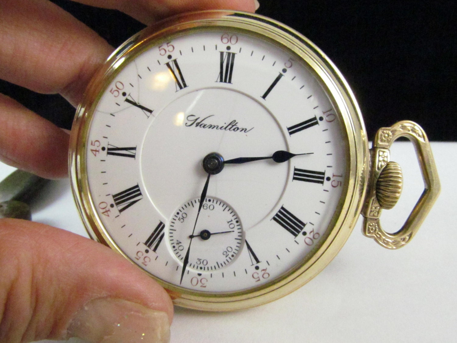 Gorgeous Hamilton Pocket Watch Early 1900 Era Black Roman