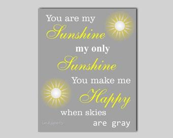 You Are My Sunshine Wall Art - My Sunshine Nursery Quote - You Are My Sunshine Print - Modern Nursery Print Playroom Art - Choose Colors