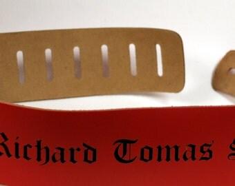 Custom Guitar straps. Personalized Guitar Straps, Guitar Straps, custom leather guitar straps, red colour