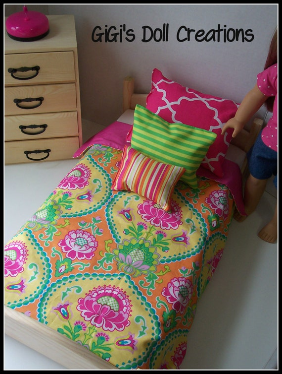 Pink and lime green bedding set for by gigisdollcreations on etsy