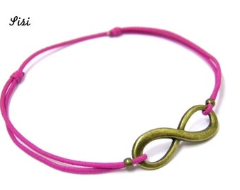Bracelet pink cord bronze infinity