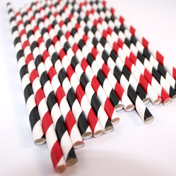 Race Car Mix Striped Paper Straws (30 Count)