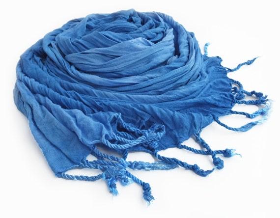 "Blue crinkle scarf - summer scarf - crinkle scarf - fringe scarf - sky blue, peacock blue - hand dyed - 20"" x 70"""