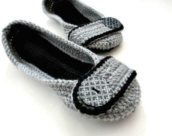 Women's Crochet Slippers - Button slippers - womens sizes - double sole - black and gray - custom - Christmas in July sale