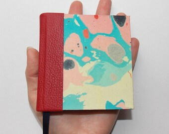 Pocket genuine leather, red nad navy endpaper, marbled paper journal. Mini notebook