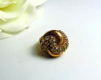 Vintage Large Unique Crystal & 18k Gold Plate Designer Ring ~ FREE SHIPPING