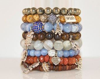 Stacking Fall Beaded Bracelets with Wish/Eiffel/Owl/Skull/Heart/Flower/Love/Hope Silver Charms-Pyrite/Jade/Jasper/Agate-Fall 2013 Jewelry