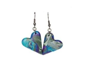 Polymer clay earrings Heart earrings Blue earrings Purple earrings Abstract earrings Valentines day Casual earrings Dangle earrings Spring